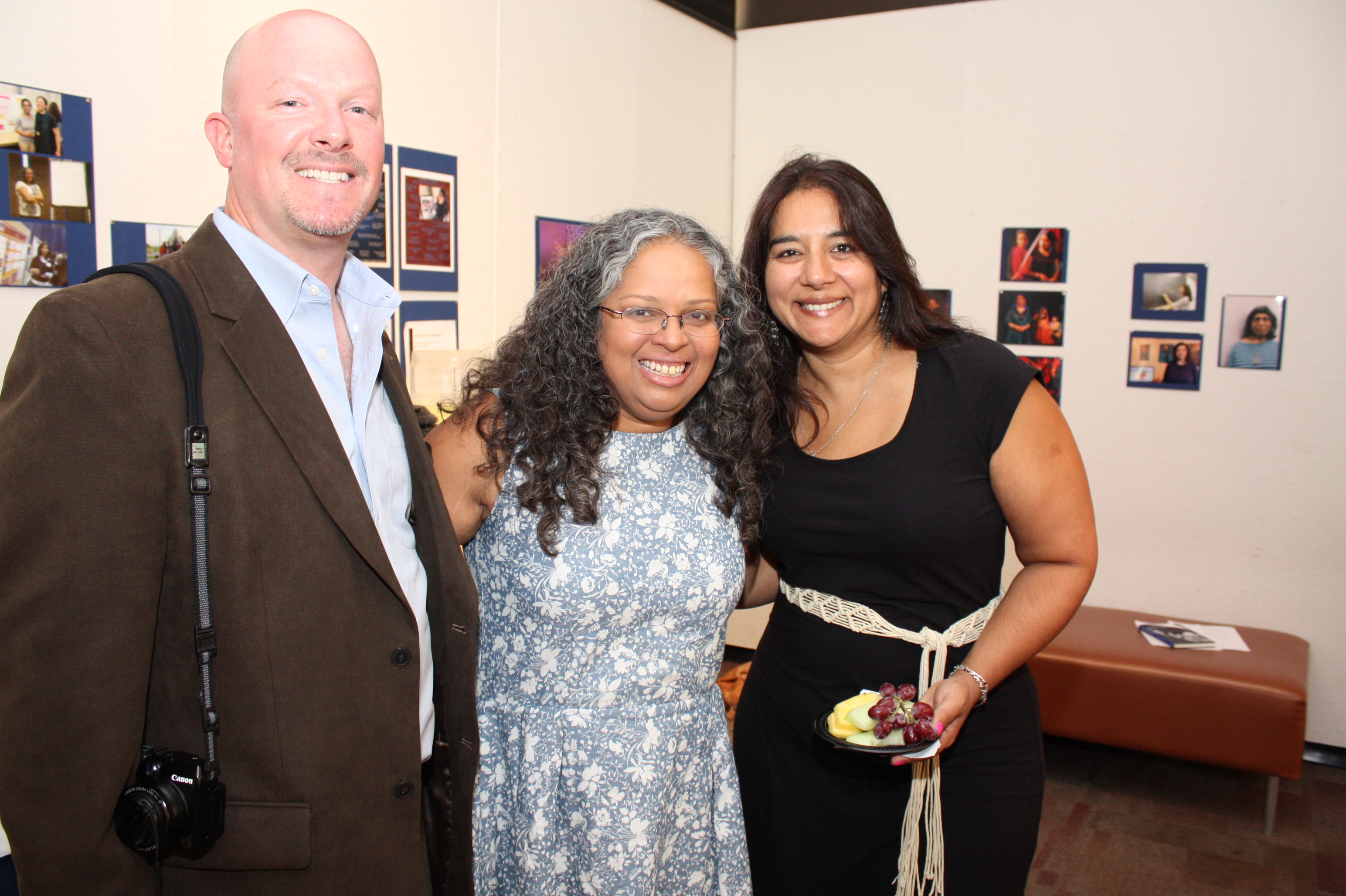 (left to right) Preston Merchant, Mary Anne Mohanraj, festival director, Rajdeep Paulus at the opening night reception