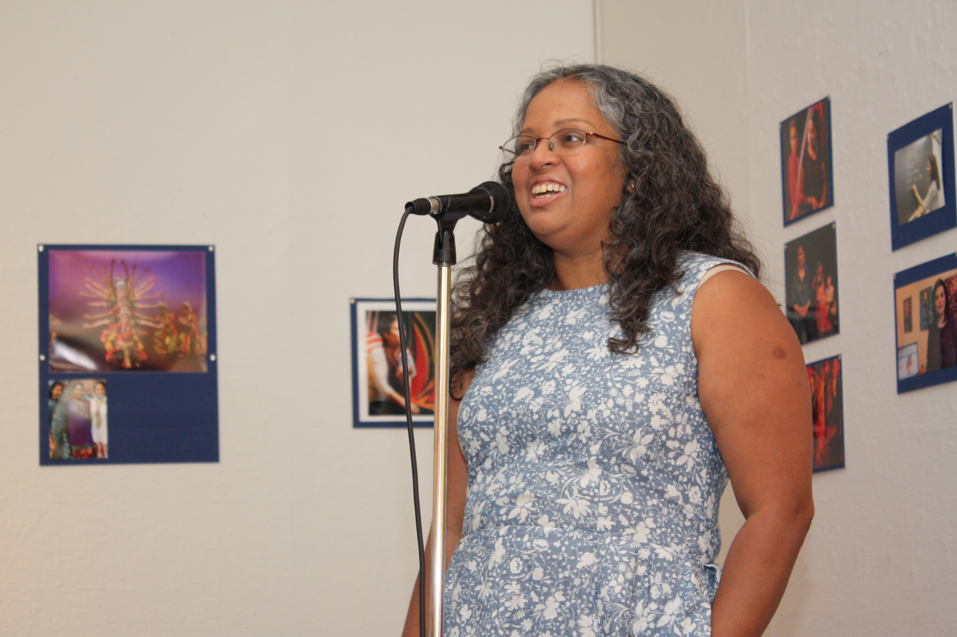 Mary Anne Mohanraj, festival director, at the opening night reception