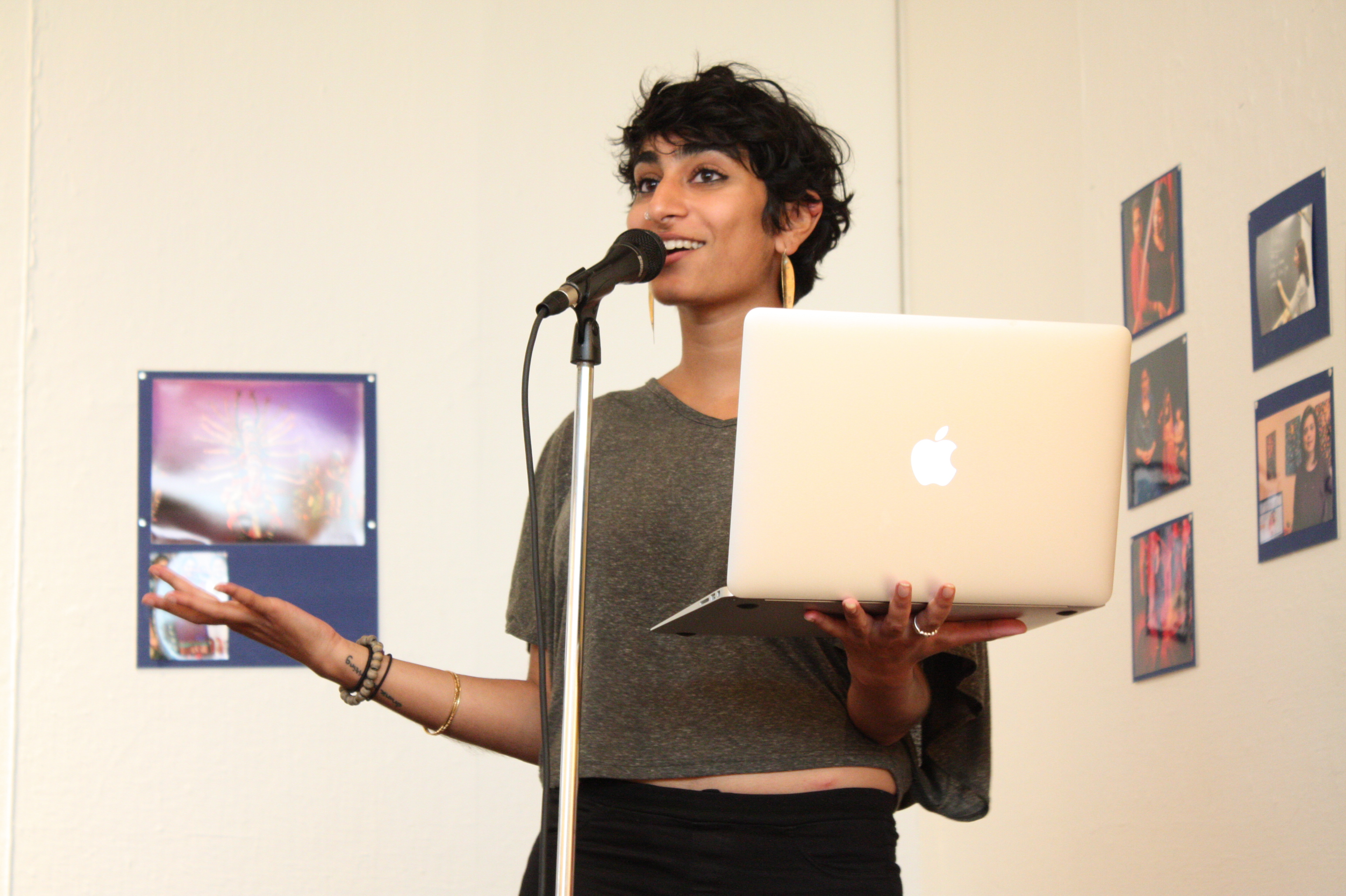 Fatimah Asghar reading at the opening night reception