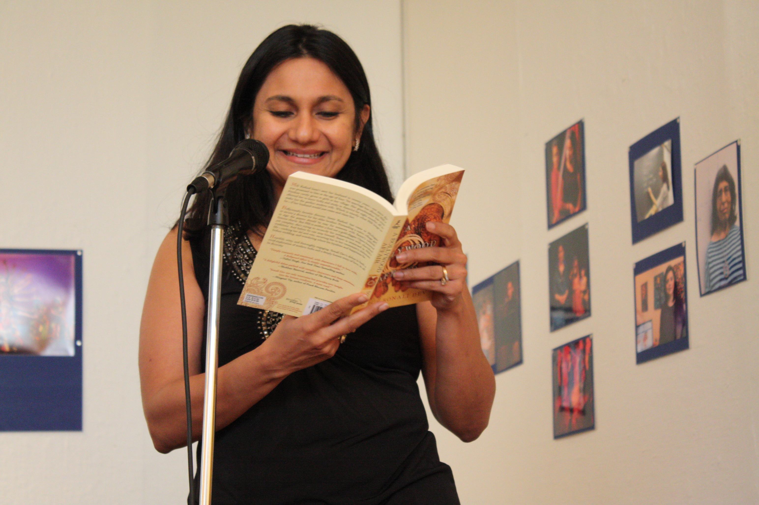 "Sonali Dev reading from ""A Bollywood Affair"" at the opening night reception"