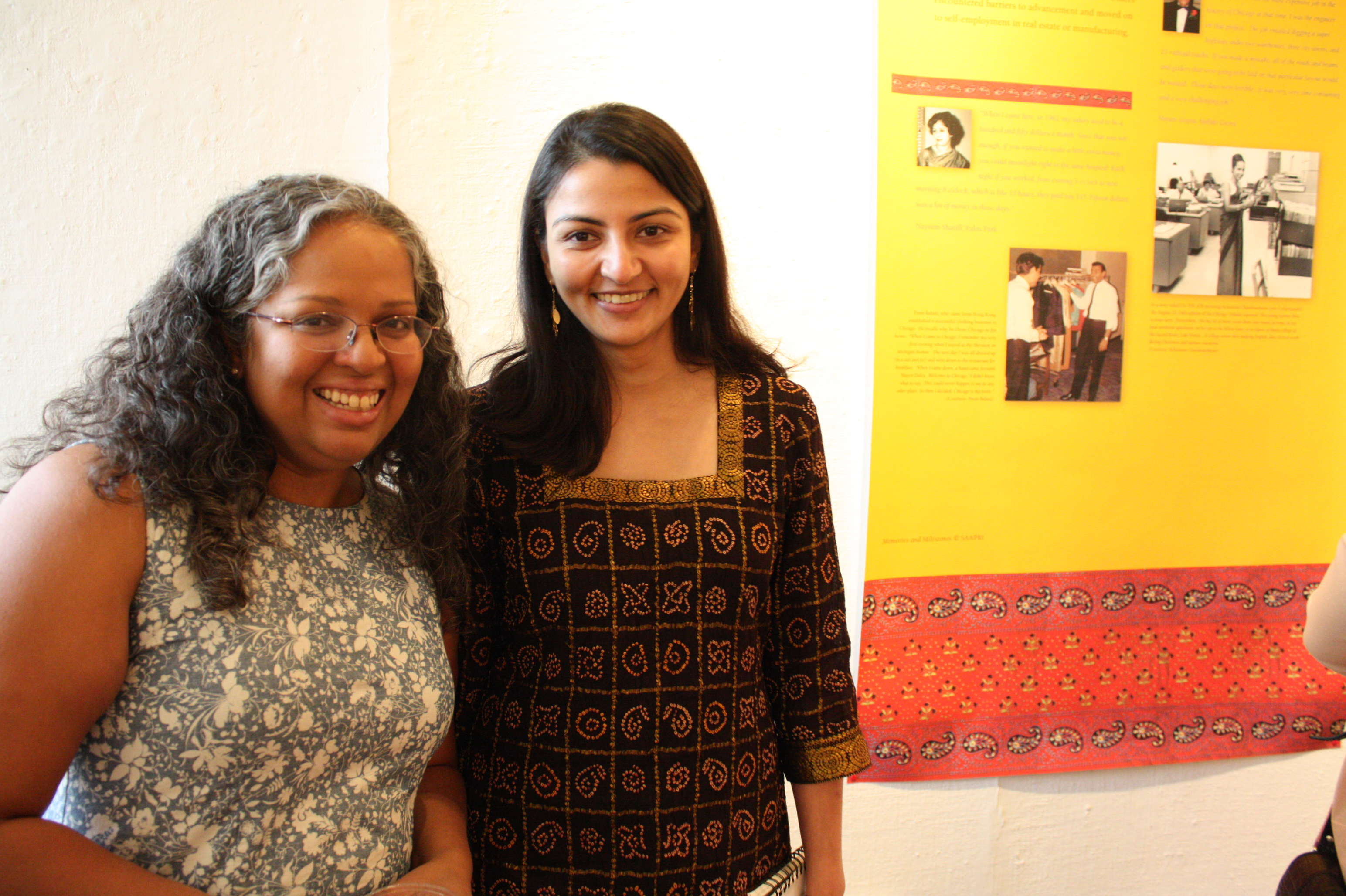 (left to right) Mary Anne Mohanraj, festival director, and Ami Gandhi, executive director of SAAPRI, at the opening night reception