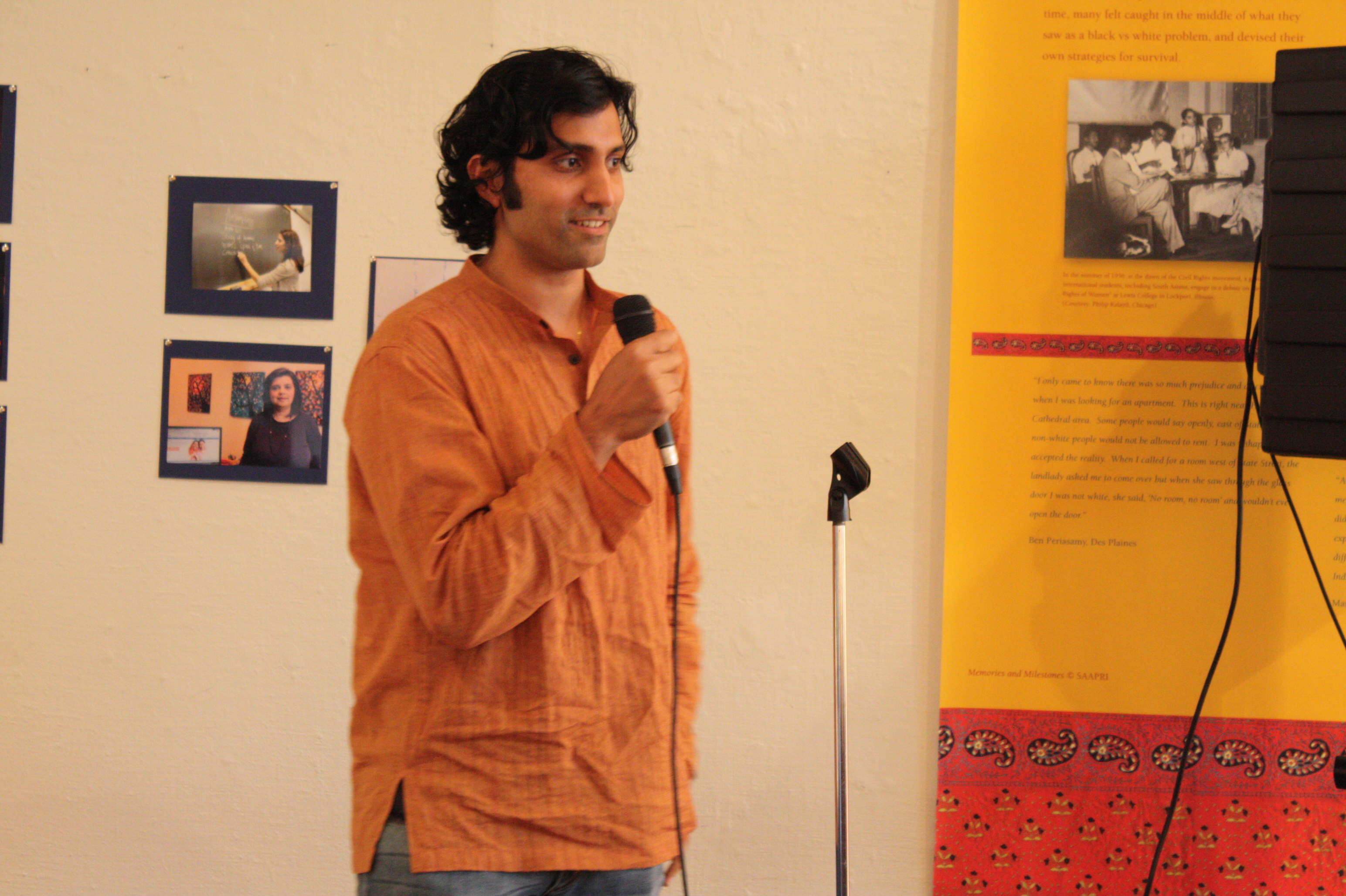 Arvind Venugopal singing at the opening night reception